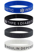 """TYPE 1 DIABETIC INSULIN DEPENDENT"" Medical Alert ID Silicone Wristbands 4 Pack"