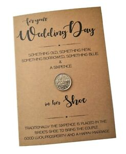 For your Wedding Day Kraft Card with Lucky Sixpence for her Shoe Keepsake Bride