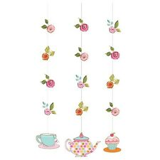 Tea Party Decorations Hanging Strings x 3  Birthday High Tea Cupcake
