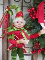 "NWT RAZ 15"" Santa's ELF Red Green Gold Christmas Figure Display Prop Ornament #B"