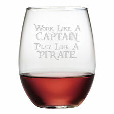 Stemless Wine Glasses Work Like a Captain Play Like a Pirate Set/4 Hand Etched