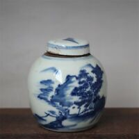 """Old Chinese Blue and white Porcelain qing Dynasty painted landscape Jar pot 3.1"""""""
