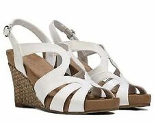 Aerosoles Plushed Sky strappy wedge sandals white sz 8.5 Med 3.5 inch heels NEW