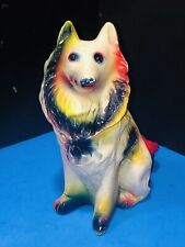 """Vintage Chalkware Collie Dog 11� Tall Collectible Carnival Prize 1950""""s"""