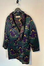 Marni Forest Green Flower Print Silk Coat