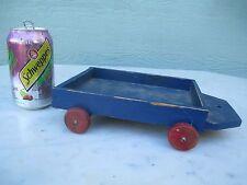 Primitive Pull Cart Wood Wheels / Table Tray  Original Blue Paint