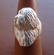 Sterling Silver Old English Sheepdog Head Study Ring