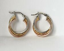 9ct Yellow Rose & White Gold Ladies Swirl Creole Hoop Earrings - UK Hallmarked