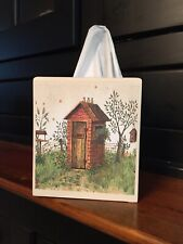BEIGE COUNTRY OUTHOUSE TISSUE BOX COVER