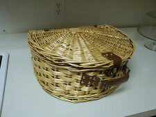 Fan Shaped Wicker Woven Picnic Basket ~ Comes with Utensils