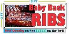 Full Color BABY BACK RIBS BANNER Sign Larger Size Delivery Restaurant