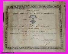 DIPLOME OFF. LEGION D'HONNEUR CAP DE CORV.ETTE ALGERIE