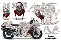 Street Bike Graphics Kit Decal Wrap For Suzuki Hayabusa GSX1300R 08-13 BONES WHT
