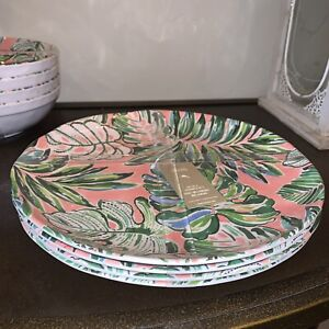 4 Pc SET Tommy Bahama Tropical Palm Leaves Melamine Dinner Plates Pink Green