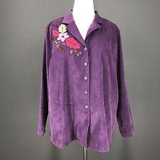 Thanksgiving Jacket 1X Purple Moleskin Autumn Leaves  Shirt LIZ & ME