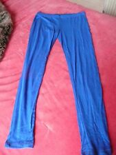 Vintage 80s Style Bright Cobalt Blue Leggings Size 14