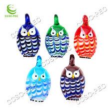 Wholesale Lots 24pcs Owl Animal Lampwork Glass Handmade Pendant Fit Necklace