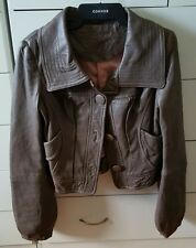 GUESS JEANS Genuine Lamb Leather Brown Mocha Soft Jacket Size S