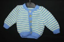 Hand Knitted Baby Cardigan in Blue and Yellow Stripes 0-3 Months