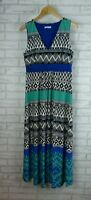 W. LANE Maxi Dress Sz S Blue, Green, Black, White print