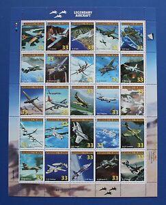 Marshall Islands (#708) 1999 Legendary Aircraft MNH sheet