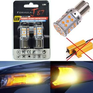 Canbus Error Free LED Light 1156 Amber Two Bulbs Front Turn Signal Replace Lamp