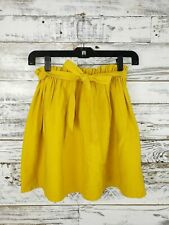 Copper Key Parallels Pleated Full Skirt Tied Belt Mustard Yellow Womens Size XS
