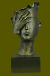 Hot Cast Dali Face Bronze Sculpture Marble Base Figurine Home Office Decoration
