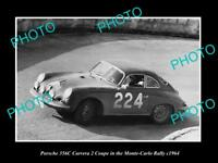 OLD LARGE HISTORIC PHOTO OF 1964 PORSCHE 356C COUPE MONTE CARLO RALLY