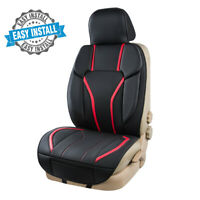 Universal Car Seat Cushion Cover Red Sporty Leather Easy Install Waterproof