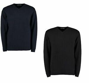Mens V Neck Heavy Weight Arundel Long Sleeve Cotton Mix Sweater Jumper KK357