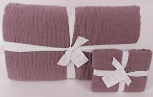 Pottery Barn Belgian Flax Linen Handcrafted King quilt & king sham, fig