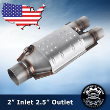 Universal Oval Catalytic Converter 225 Inout Withtwo O2 Port Epa Obdii