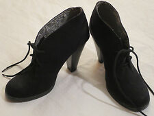 Xhilaration Black Suede High Heel Ankle Bootie Lace up Fashion Shoes Womens 7