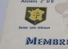 document carte membre donateur 1954 anciens de la 2e DB division Leclerc