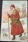 vintage Christmas Postcard Santa Claus gold trim Germany old world antique