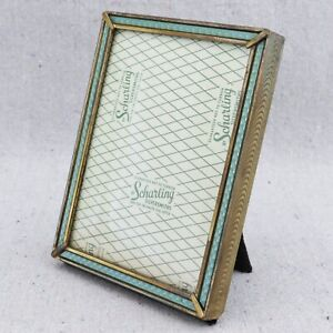 Vintage Scharling Silversmith Guilloche Enamel Style Brass Picture Frame