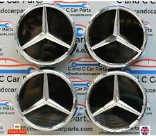 Mercedes Aleación Centro De Rueda Caps 75mm Insignia Emblema Cromado Negro Brillante Hub..