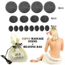 16pcs Massage Stones Basalt Skin Relief SPA Massager Therapy +Heating Bag