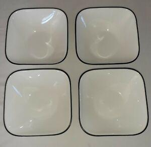 "Corelle Cereal Bowls Square Black Rim 6 1/4"" Cascading Lines Sketch"