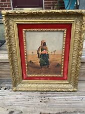 antique PAINTING PERSIAN ARAB Man w SWORD Fighter Moorish Art Old Vintage Arabic