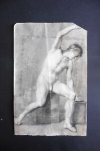 FLEMISH SCHOOL 1804 - FINE STUDY MALE NUDE - SIGNED CHARCOAL DRAWING