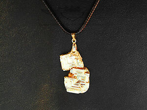 Lederkette, Anhänger,Bismut, Hopperkristall, Wismut Kristall, 24 Karat vergoldet