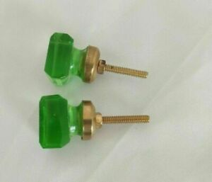 Pair Square Shape Victorian Glass & Brass Door Knob Handle Drawer Pulls 03