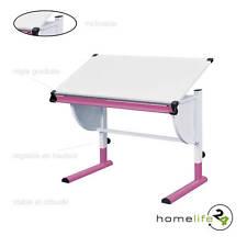 Très beau bureau enfant métal laqué blanc rose panneaux de particules réglabl...
