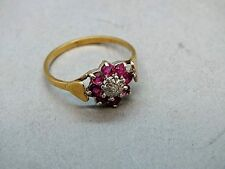 1970's 9ct Gold Diamond & Amethyst Floral Cluster Ring with 'Heart' Shoulders