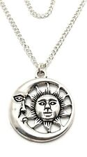 Sun Moon Necklace Sterling Silver Plated Chain Link Womens Jewelry Handmade