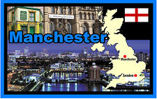 MANCHESTER, UK, MAP & FLAG  - SOUVENIR NOVELTY FRIDGE MAGNET - BRAND NEW - GIFT