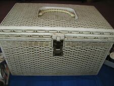 Vintage Wilson Basket Weave Sewing Box w Huge Lot of Notions, Buttons & More