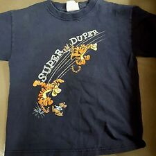 The Disney Store XS T-Shirt  Navy Blue Tigger Super Duper on front Childrens XS